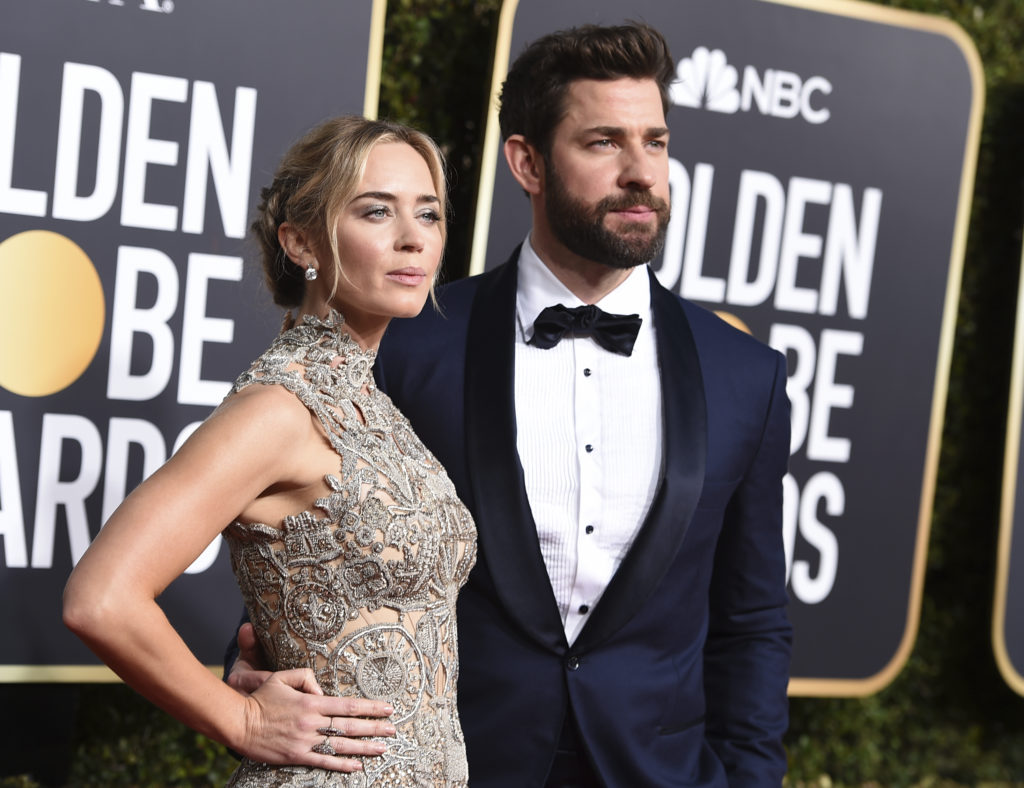 Emily Blunt, left, and John Krasinski arrive at the 76th annual Golden Globe Awards at the Beverly Hilton Hotel on Sunday, Jan. 6, 2019, in Beverly Hills, Calif. (Photo by Jordan Strauss/Invision/AP)