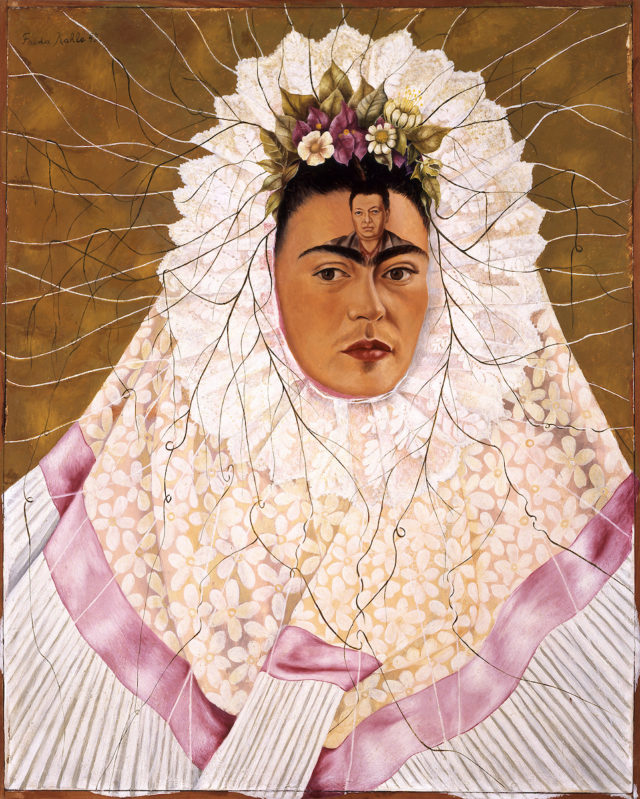 Frida Kahlo (Mexican, 1907–1954). Self-Portrait as a Tehuana, 1943. Oil on hardboard, 30 x 24 in. (76 x 61 cm). The Jacques and Natasha Gelman Collection of 20th Century Mexican Art and the Vergel Foundation. © 2018 Banco de México Diego Rivera Frida Kahlo Museums Trust, Mexico, D.F. / Artists Rights Society (ARS), New York