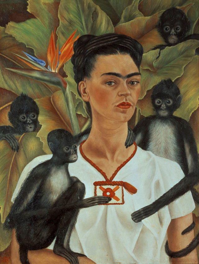 Frida Kahlo (Mexican, 1907–1954). Self-Portrait with Monkeys, 1943. Oil on canvas, 32 x 24 ¾ in. (81.5 x 63 cm). The Jacques and Natasha Gelman Collection of 20th Century Mexican Art and the Vergel Foundation. © 2018 Banco de México Diego Rivera Frida Kahlo Museums Trust, Mexico, D.F. / Artists Rights Society (ARS), New York