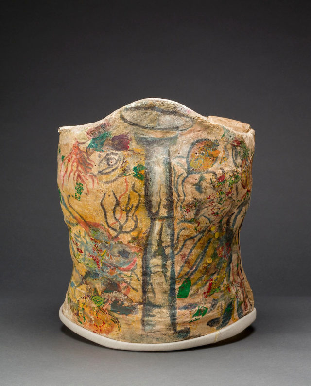 Plaster corset, painted and decorated by Frida Kahlo, Museo Frida Kahlo. © Diego Rivera and Frida Kahlo Archives, Banco de México, Fiduciary of the Trust of the Diego Rivera and Frida Kahlo Museums. (Photo: Javier Hinojosa, courtesy of V&A Publishing)