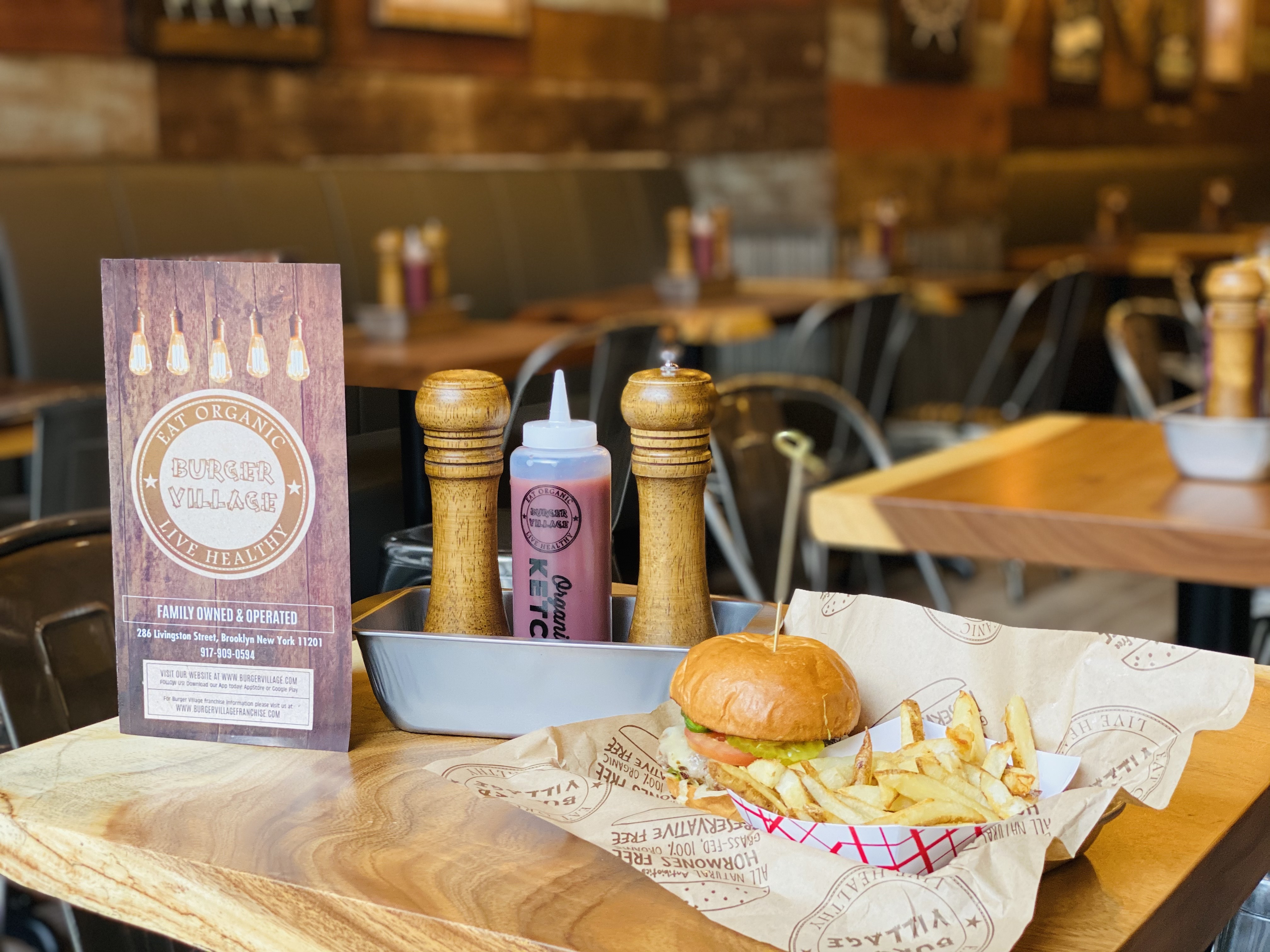 Burger Village is known for serving top-quality grass fed burgers.